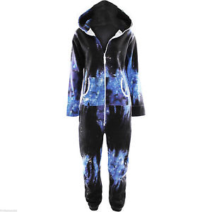 Womens Onesie Unisex Playsuit Galaxy Print Ladies Mens All in One Jumpsuit 8 14 | eBay