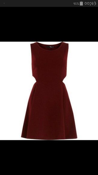 cut-out red dress burgundy red wine skater