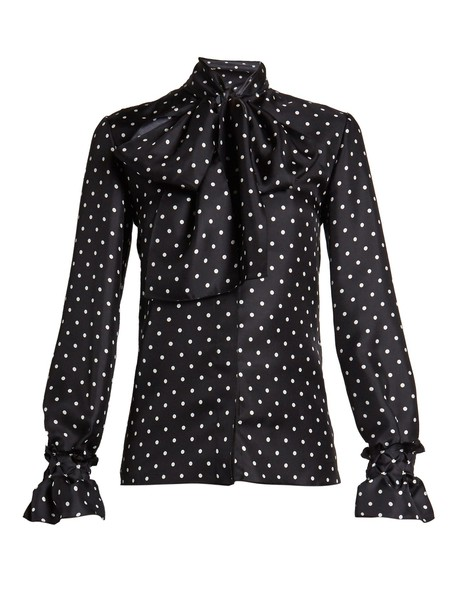 LOEWE blouse print satin white black top