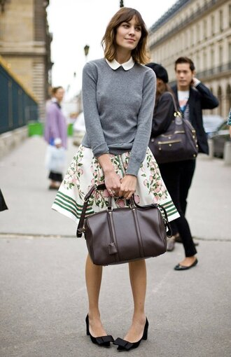 grey sweater white t-shirt alexa chung skirt shoes sweater bag