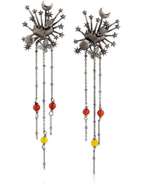 VALENTINO Heart Universe Pendant Metal Earrings in silver