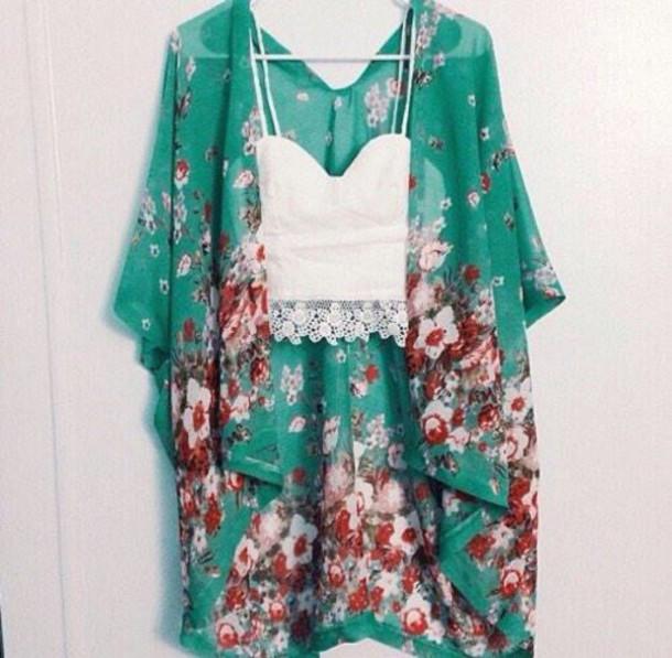 cardigan kimono flowers shawl aqua