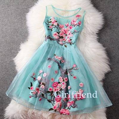 Girlfriend prom dress · elegant sleeveless short green organza embroidered prom dress, bridesmaid dress · girls prom dresses on storenvy