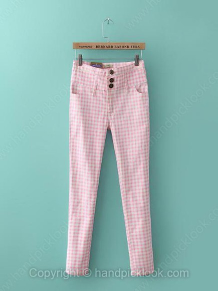 vichy pink pants bottoms\ clothes