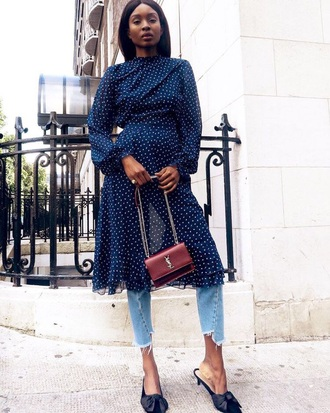 dress midi dress shoes mules sunglasses bag long dress long sleeve dress polka dots dress polka dots jeans denim