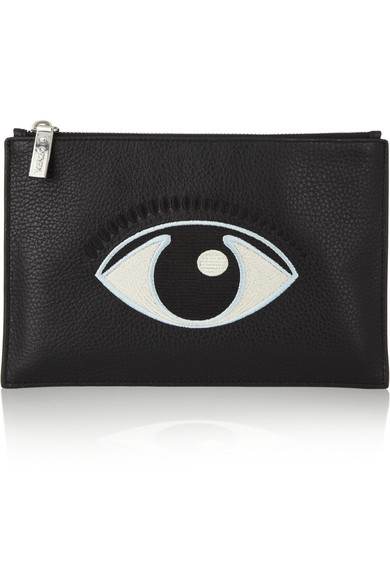 KENZO - Eye-embroidered textured-leather pouch