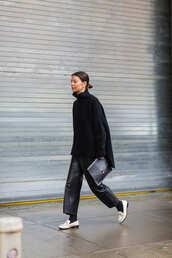 sweater,nyfw 2017,fashion week 2017,fashion week,streetstyle,oversized sweater,turtleneck,black sweater,bag,black bag,pants,black pants,leather pants,black leather pants,cropped pants,shoes,white shoes,loafers,socks