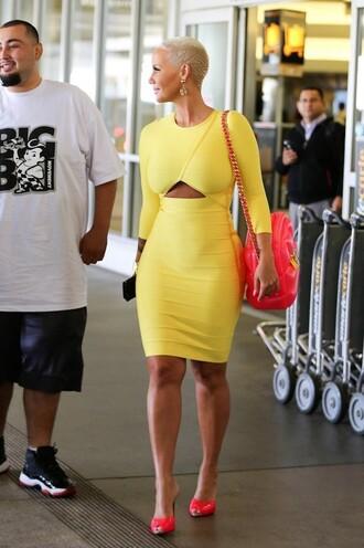 dress yellow yellow dress amber rose bandage dress