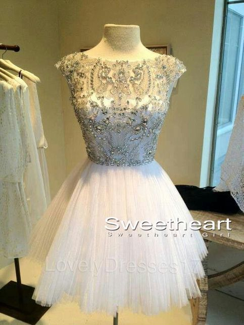 White short sequin rhinestone round neckline prom dresses, homecoming
