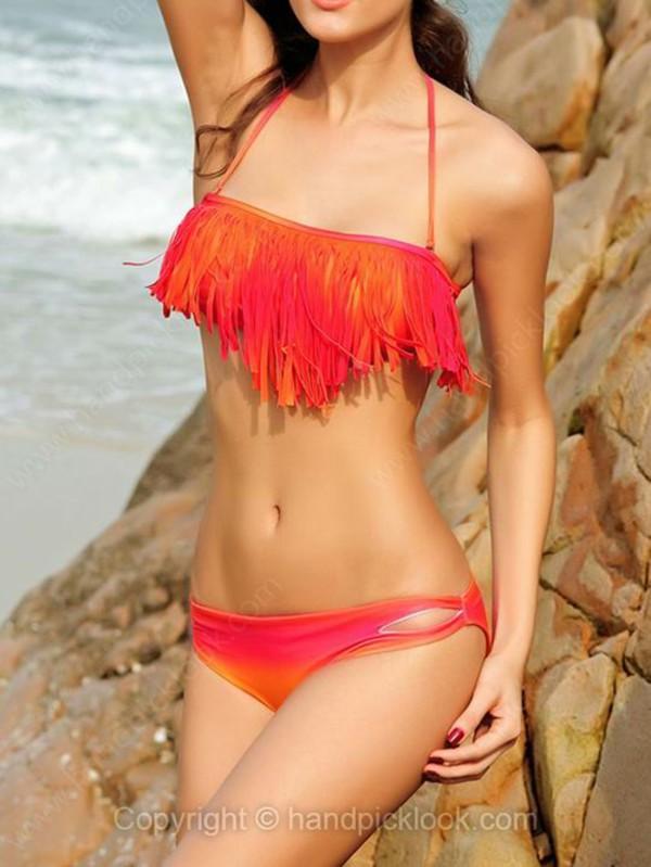 swimwear bikini fringe bikini fringes fringe bikini ombre ombré bikini red orange red bikini orange bikini orange fringe bikini red fringe