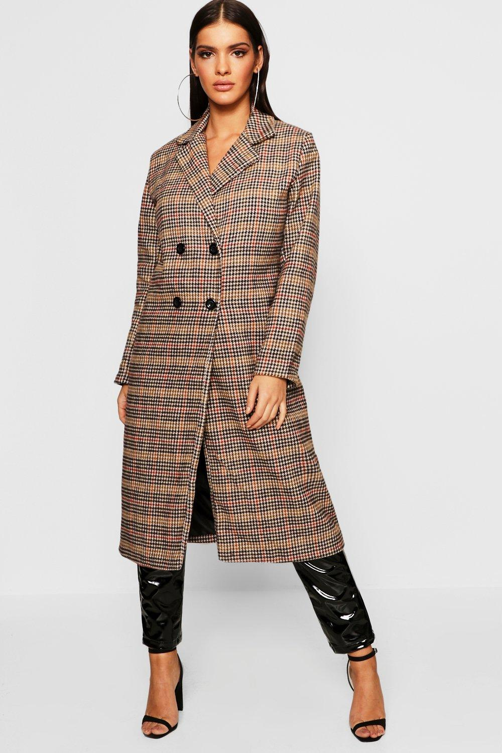 Long manteau à carreaux bord à bord | Boohoo