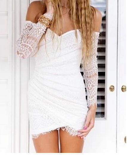 Long sleeve sexy dress white bud silk cute dress yy0