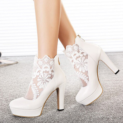 [grxjy5190669]fashion lace gauze spliced round toe thick high