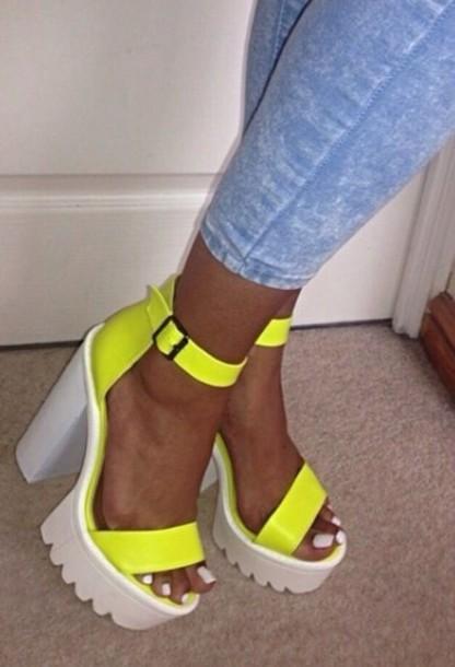 shoes, heels, neon, yellow, flourescent