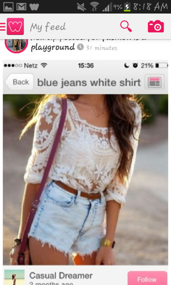 shorts denim summer light wash shirt white lace