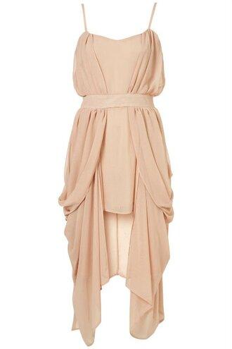 dress short sleeve spaghetti strap empire waist short dress layered dress gathered peach dress