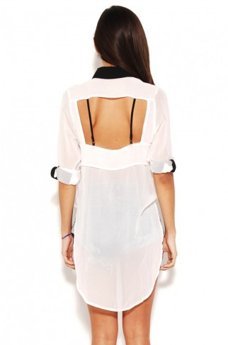 Tail Back Blouse with Open Back in White by AKIRA | Womens Tops | shopAKIRA.com