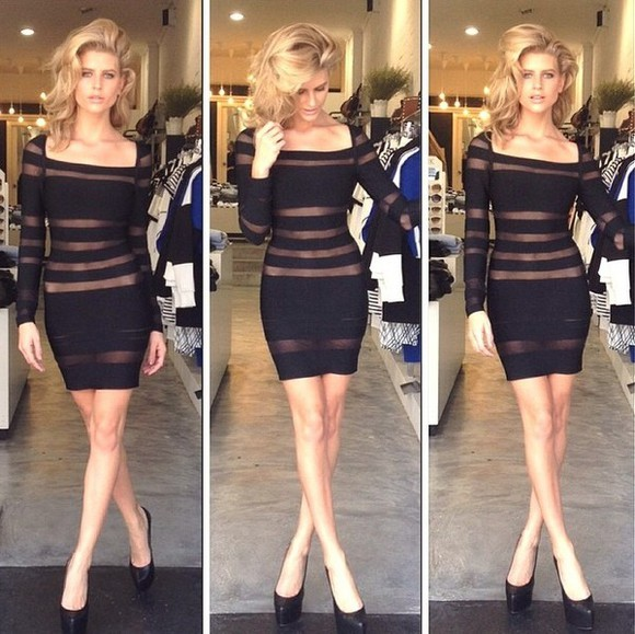 mini dress black mesh dress mesh strips long sleeve dress