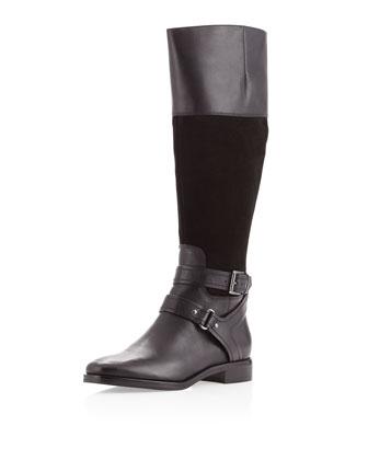 Rachel Zoe Audrey Suede/Snakeskin Ankle Boot, Dark Green - Neiman Marcus Last Call