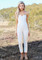 White strapless pleated jumpsuit