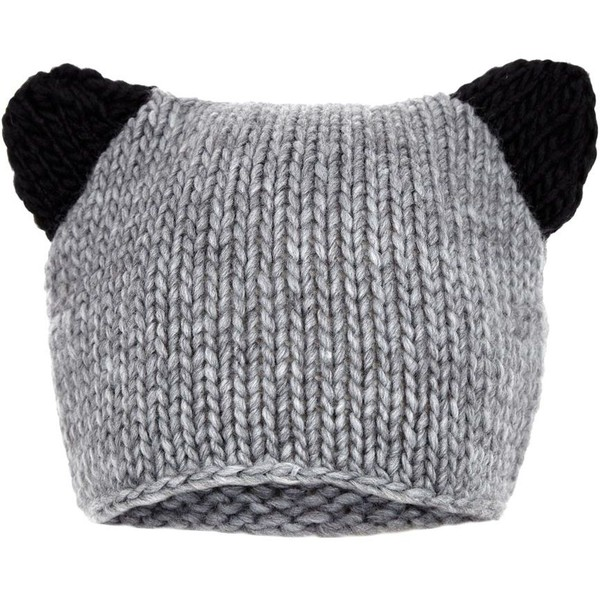 Black and Grey Ear Beanie - Polyvore
