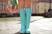 shoes,boots,rain,rainboots,rainboot,wellies,color rain boot,colorful,teal,aqua,blue,turquoise,tumblr,hunter boots