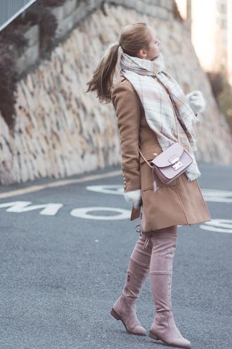 pink bag my blonde gal camel coat blogger blanket scarf dress bag scarf shoes coat suede boots pink shoes