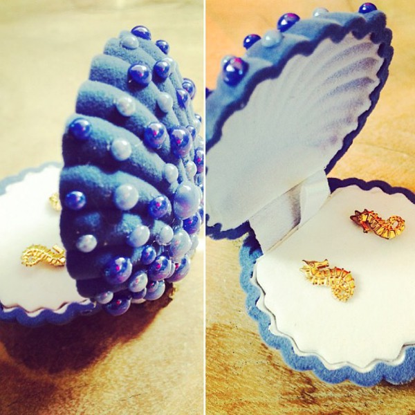jewels box jewelry jewellery box shell mermaid velour blue pearl beach craft customized