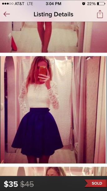 dress lace white blue