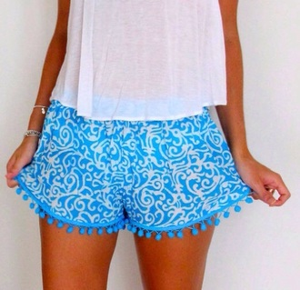 shorts white blouse blue dress printed pants fashion style girly girl