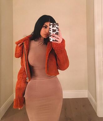 jacket dress bodycon dress fall dress fall colors fall outfits instagram kylie jenner kardashians celebrity celebstyle for less celebrity style bodycon nude nude dress party dress sexy dress