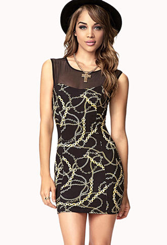 Chain Print Bodycon Dress | FOREVER21 - 2073190725