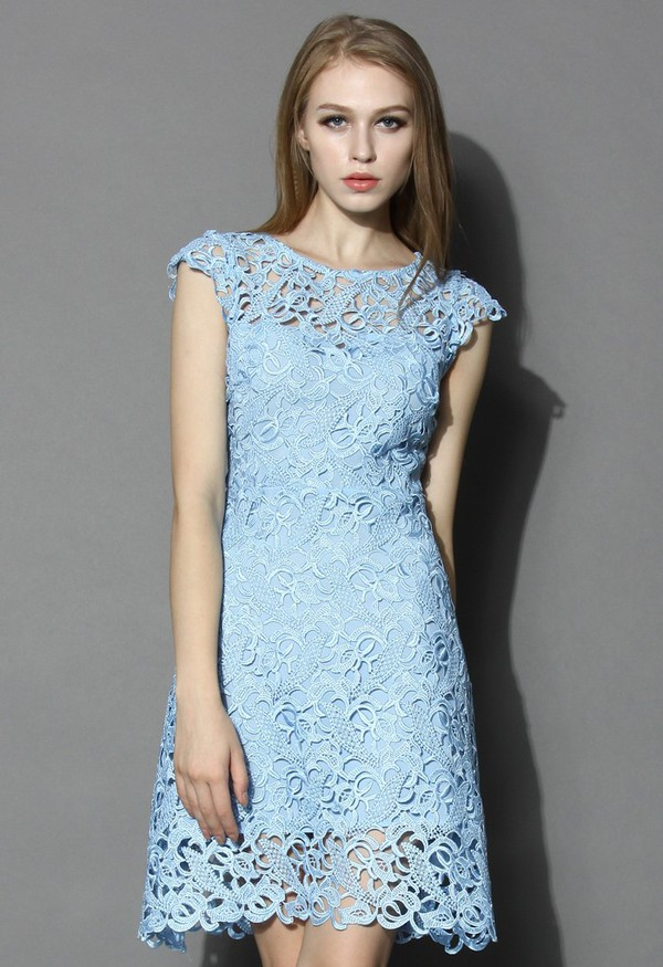 chicwish lace crochet dress blue jasmine