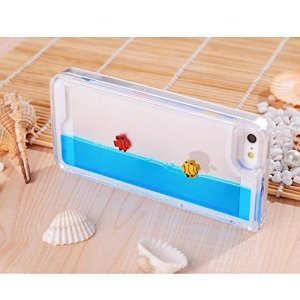 Amazon.com: funny fashion fishes freely swimming clear crystal case cover for iphone 5 5s (blue): cell phones & accessories