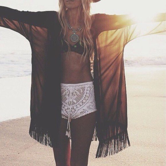 shorts crochet shorts white shorts jacket cardigan white crochet
