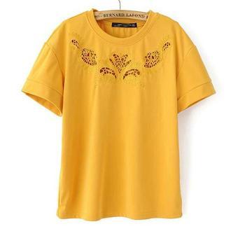 t-shirt cotton t-shirt basic top hollow out yellow t-shirt