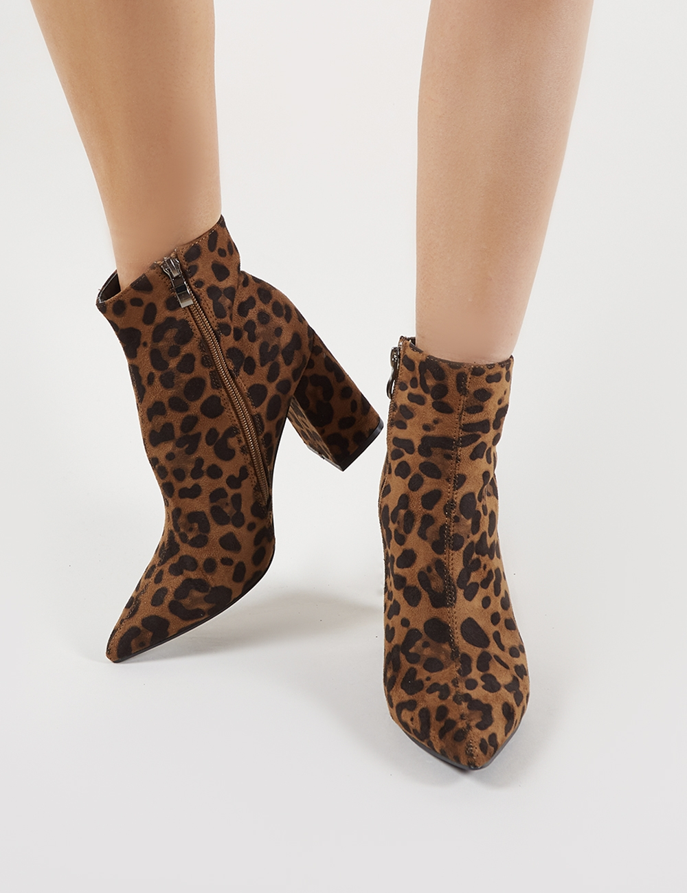 Empire Pointed Toe Ankle Boots in Leopard Print