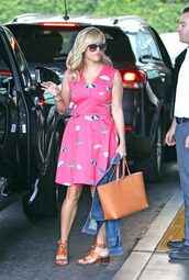 dress,pink,pink dress,reese witherspoon,streetstyle,summer dress,summer outfits