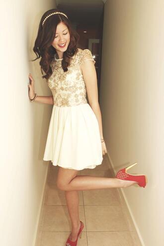 dress spiked shoes spiked headband spiked bracelet sequin dress red lipstick