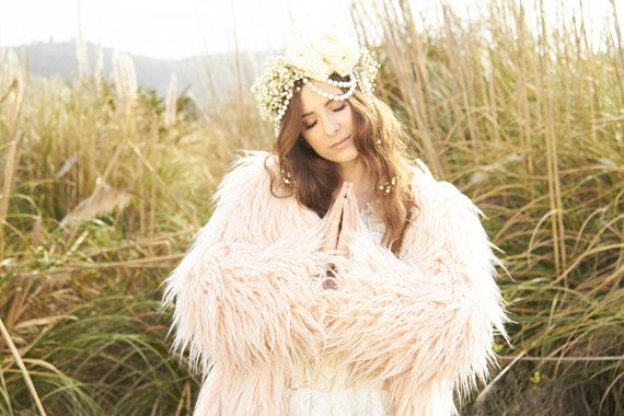 Bohemian Princess Fur Coat | Faux Fur Burning Man Pastel Outfit Festival clothing BOHO coat