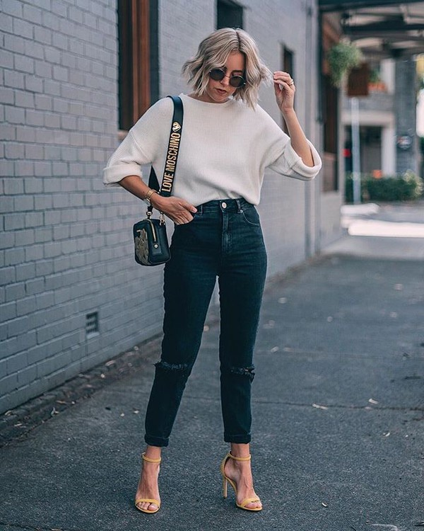 shoes nude sandals sweater white sweater bag sunglasses sandals sandal heels high heel sandals denim jeans blue jeans