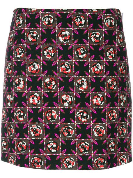 Emilio Pucci - floral print skirt - women - Silk/Acetate/Viscose/Wool - 38, Black, Silk/Acetate/Viscose/Wool