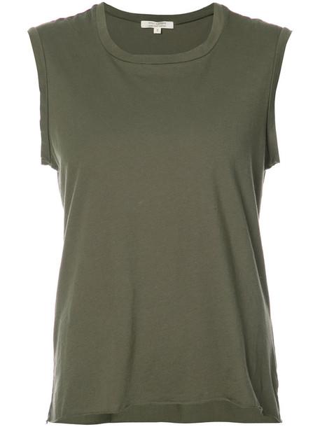 tank top top loose women fit cotton green