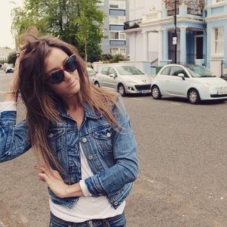 jacket blue eleanor calder denim jacket sunglasses levi's