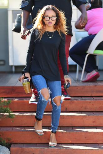 sweater top sandals karrueche jeans glasses