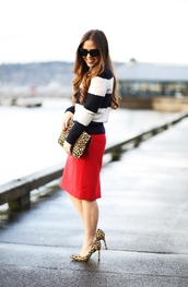 dress corilynn,blogger,striped sweater,red skirt,office outfits,leopard print high heels,animal print bag