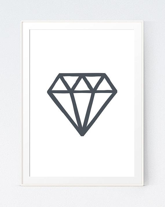 Geometric Minimalist Diamond, Diamond Wall Art, Minimalistic Print ...