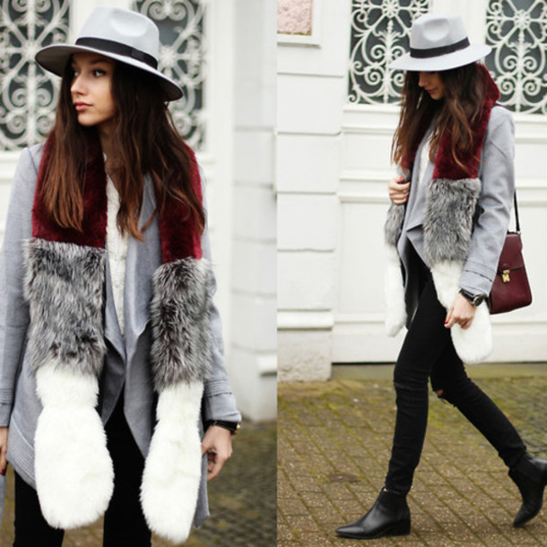 scarf fluffy cute winter outfits casual