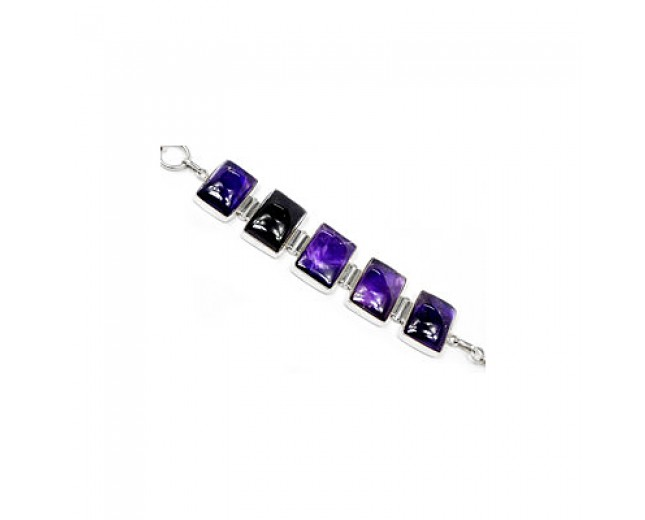 Unique 925 Sterling Silver Amethyst Bracelet