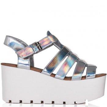 Buy SURF Cut Out Flatform Platform Sandal Shoes Silver Hologram Online